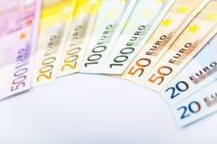 Closeup of Euro Banknotes Royalty Free Stock Photography