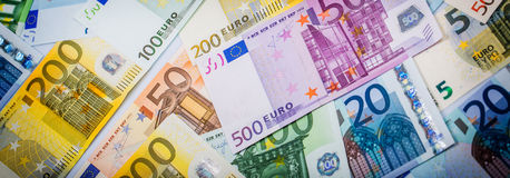 Closeup of Euro Banknotes Royalty Free Stock Images