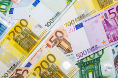 Closeup of Euro Banknotes Stock Image