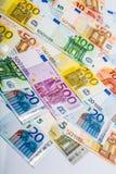 Closeup of Euro Banknotes Stock Photo
