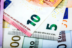 Closeup of Euro Banknotes Stock Image