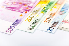Closeup of Euro Banknotes Stock Photography