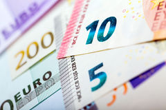 Closeup of Euro Banknotes Royalty Free Stock Photography