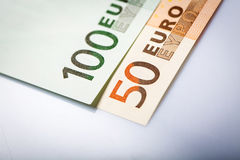 Closeup of Euro Banknotes Royalty Free Stock Photo