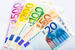 Closeup of Euro Banknotes Royalty Free Stock Photos