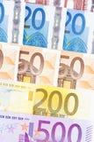 CLOSEUP OF EURO - EUROPEAN UNION BANKNOTES Stock Photos