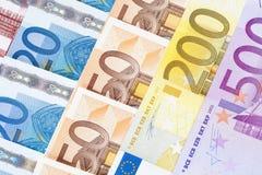 CLOSEUP OF EURO - EUROPEAN UNION BANKNOTES Stock Photo