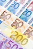 CLOSEUP OF EURO - EUROPEAN UNION BANKNOTES Royalty Free Stock Photos
