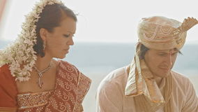 Closeup European Bride Groom on Indian Traditional Wedding stock footage
