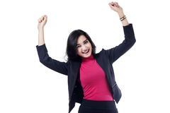 Closeup of excited asian businesswoman Stock Photos