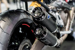 Closeup of exhaust or intake of racing motorcycle. Low angle pho Stock Photo