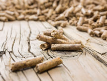 Closeup of extruded  wood pellets Stock Photo