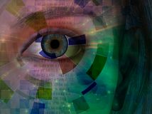 Closeup of eye with binary code. Closeup of eye with abstract and binary code. Human elements were created with 3D software and are not from any actual human Royalty Free Stock Photo