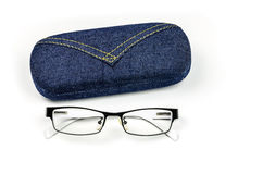 Closeup of eye glasses with box Royalty Free Stock Photography