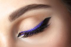 Closeup eye with makeup - arrow black and lilac Royalty Free Stock Photo