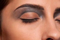 Closeup eye makeup zone of doll woman Stock Photography