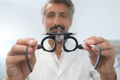 Closeup eye test glasses. Closeup of eye test glasses Stock Photos