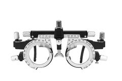 Closeup of eye test glasses. On white background Royalty Free Stock Images