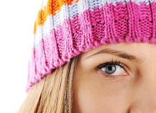 Closeup eye of Winter Beautiful Girl Royalty Free Stock Photos