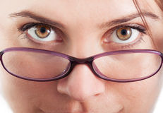 Closeup with eyes and eyeglasses Stock Photography