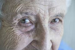 Closeup eyes of a senior person Stock Images