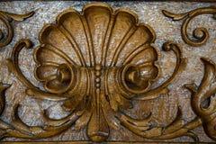 Closeup för bakgrund för gul brunt för träprydnadtappning blom- Arkivbild