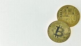 Closeup för bild för elektroniska pengar för Bitcoin crypto valuta arkivbild
