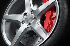 Closeup för bilhjulbromsar Arkivbilder