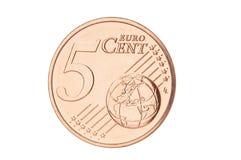 Closeup för cent för euro fem Arkivfoto