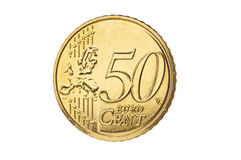Closeup för cent för euro femtio Arkivfoto