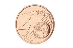 Closeup för cent för euro två Royaltyfria Foton