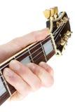 Closeup för gitarrspelare Arkivfoto
