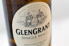 Closeup för Glen Grant Speyside Single Malt Scotch whiskyflaska royaltyfria foton