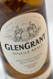 Closeup för Glen Grant Speyside Single Malt Scotch whiskyflaska royaltyfria bilder