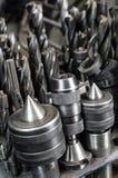 Closeup för metalldrillborrbitar Arkivbild