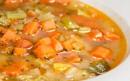 Closeup för minestronegrönsaksoppa Arkivfoton