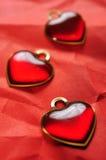 Closeup för tre röd hjärtor Royaltyfria Foton