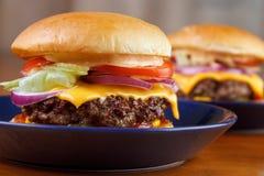 Closeup för två hamburgare Arkivbilder