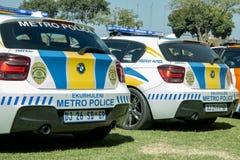 Closeup för två södra - afrikanska polisbilar - EMPD Royaltyfri Bild