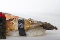 Closeup för Unagi nigirisushi Arkivfoto