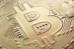 Closeup för valuta för Bitcoin monetmynt Arkivbilder