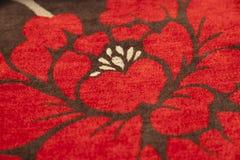 Closeup fabric with floral detail Stock Photos