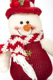 Closeup of Fabric Snowman with Red and white Scarf Stock Photography