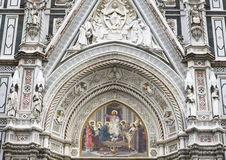 Closeup of The Facade of the Cathedral of Florence Stock Photography