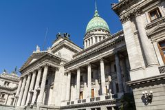 The National Congress in Buenos Aires. Closeup of the facade with columns of Congress. The National Congress in Buenos Aires, Argentina Royalty Free Stock Image