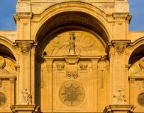 Closeup on the Facade of the Granada Cathedral Stock Photos