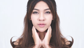 Closeup face of asia attractive woman on background Stock Photography