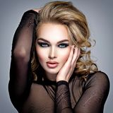 Gorgeous beautiful blond woman with creative makeup Stock Image