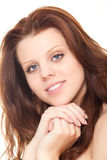 Closeup face beautiful woman with clean skin Stock Image