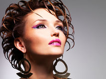 Closeup face of the beautiful  woman with fashion glamour makeup Royalty Free Stock Photos